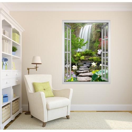 Tranh In canvas Cửa sổ VTC Phong cảnh Thác nước VT0392A1 Không khung KT 110 x 150 cm