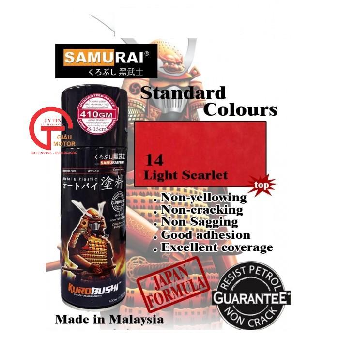 115 _ Sơn xit Samurai 115  màu cam sáng  Light Scarlet  giá rẻ, Tốt , ship nhanh 15