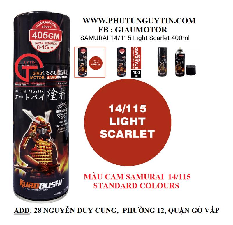 115 _ Sơn xit Samurai 115  màu cam sáng  Light Scarlet  giá rẻ, Tốt , ship nhanh 3
