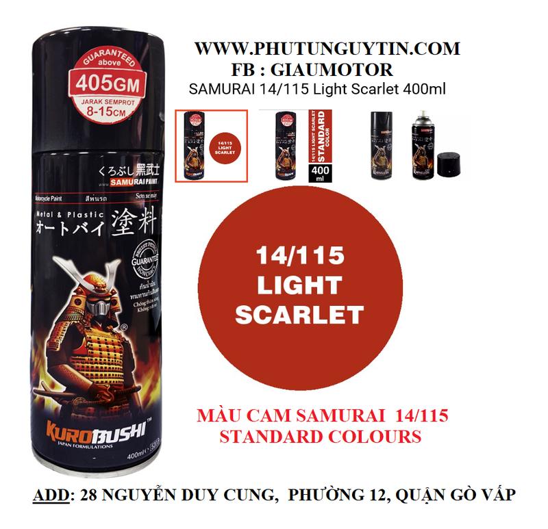 115 _ Sơn xit Samurai 115  màu cam sáng  Light Scarlet  giá rẻ, Tốt , ship nhanh 1