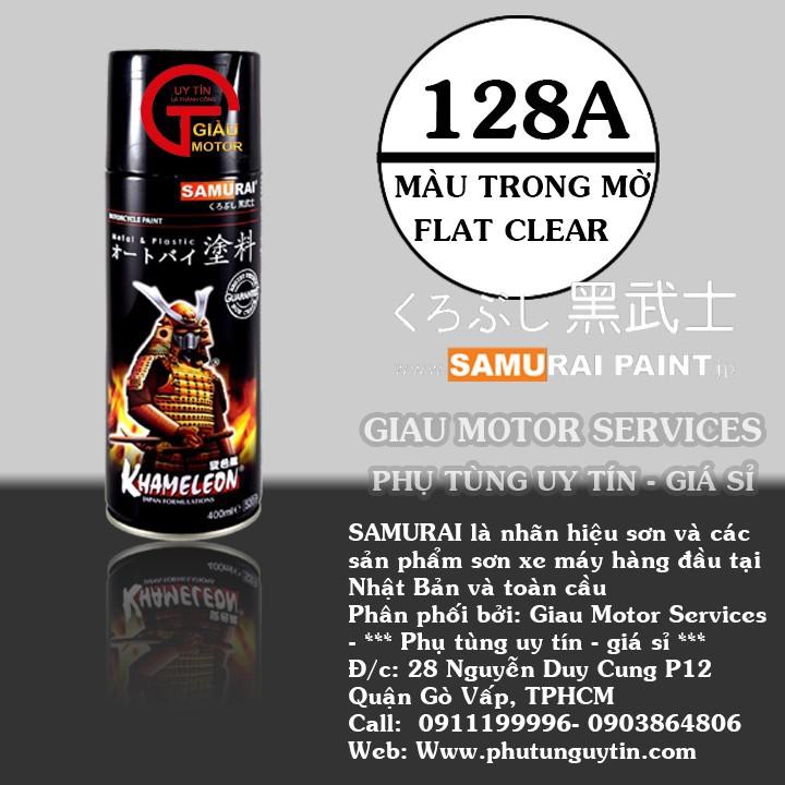 128A _ Chai sơn xịt sơn xe máy Samurai 128A màu trong mờ _ Flat Clear_ shop uy tín, giao hàng nhanh, giá rẻ, Best Seller 1