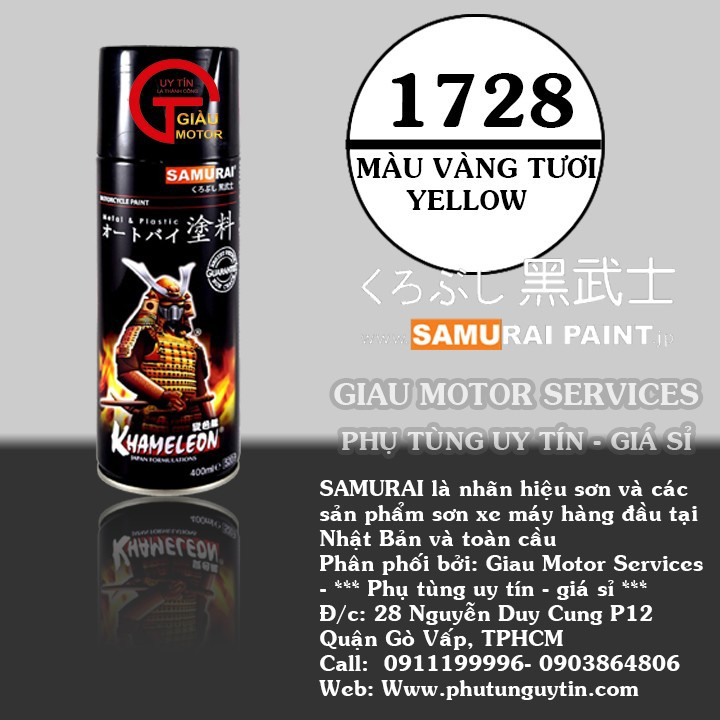 1728 _ Chai sơn xịt sơn xe máy Samurai 1728 màu vàng tươi shop uy tín, giao nhanh 8