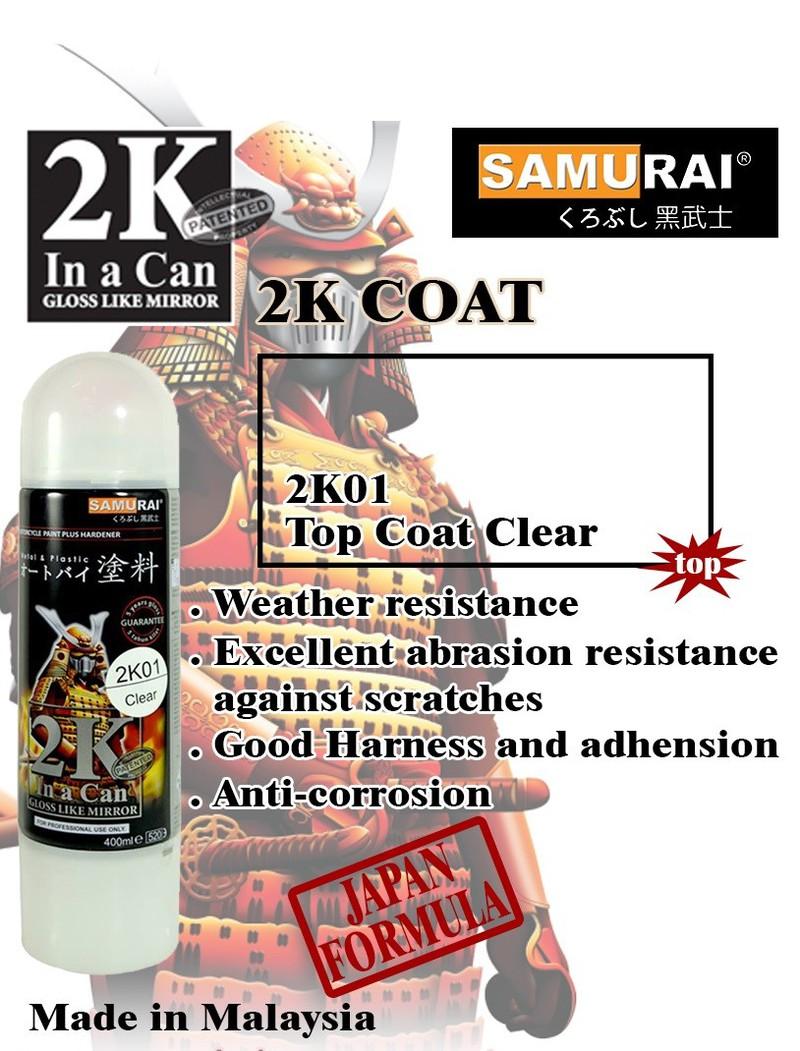 2k01 _ Chai Sơn Xịt Sơn Xe Máy Samurai 2K01 sơn bóng trong suốt 2 thành phần _ Clear Top Coat _ shop uy tín, giao nhanh 11