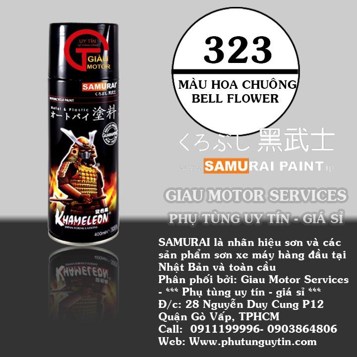 323 _ Sơn xit Samurai 323 màu hoa chuông _ Bell Flower _ Tốt, ship nhanh, giá rẻ 1