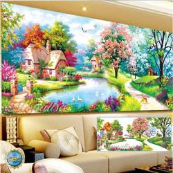 tranh đính đá phong cảnh mùa xuân 120x60cm