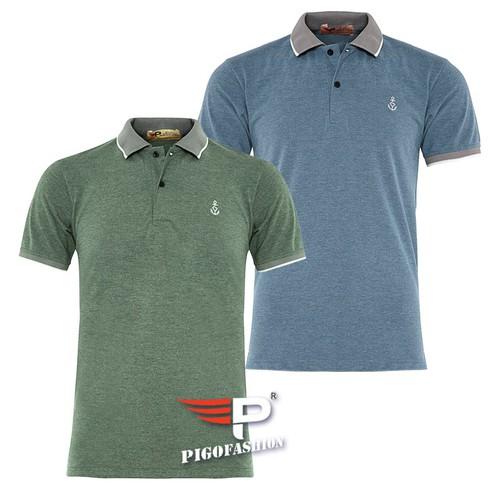 Bộ 2 Áo thun nam ngắn tay cổ bẻ phối bo sọc dệt đặc biệt PigoFashion AHT08 màu xanh rêu xanh bích, ghi chú chọn màu khác