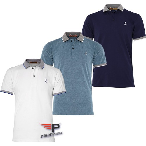 Bộ 3 Áo thun nam ngắn tay cổ bẻ phối bo sọc dệt đặc biệt PigoFashion AHT08 màu trắng xanh vịt xanh đen, ghi chú chọn màu khác