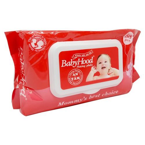 Khăn ướt em bé BabyHood hương phấn gói 80 miếng