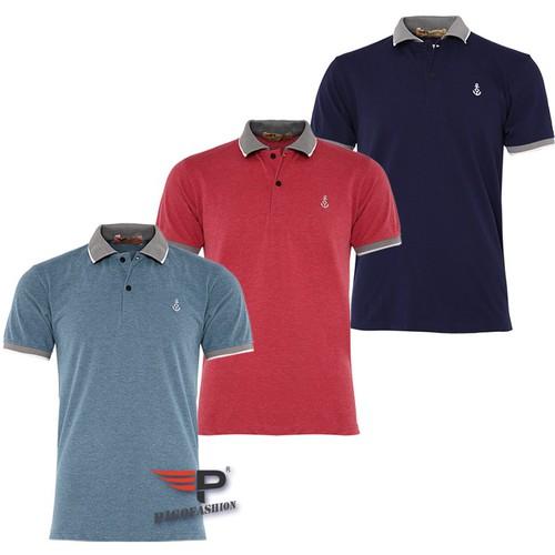 Bộ 3 Áo thun nam ngắn tay cổ bẻ phối bo sọc dệt đặc biệt PigoFashion AHT08 màu xanh vịt đỏ xanh đen, ghi chú chọn màu khác