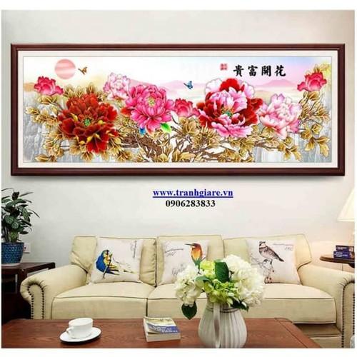tranh thêu chữ thập hoa mẫu đơn 195-83cm