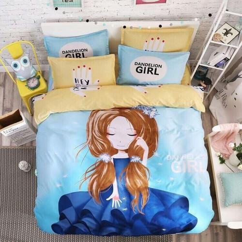 Bộ chăn ga gối phong cách Hàn Quốc công chúa tóc mây.