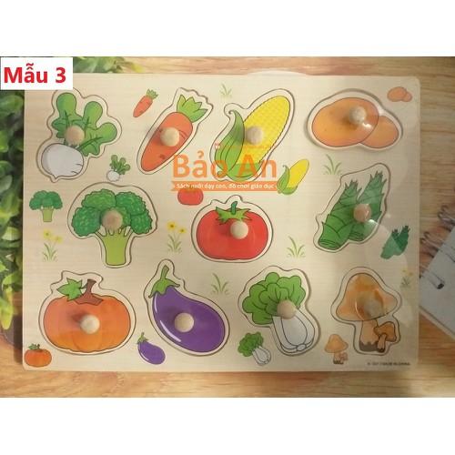 Bảng gỗ ghép hình có núm - rau, củ, quả