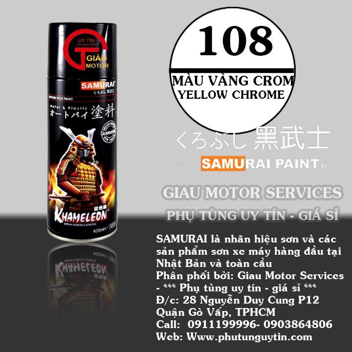 108 _ Chai sơn xịt sơn xe máy Samurai 108 màu vàng crome shop uy tín, giao nhanh, giá rẻ 1