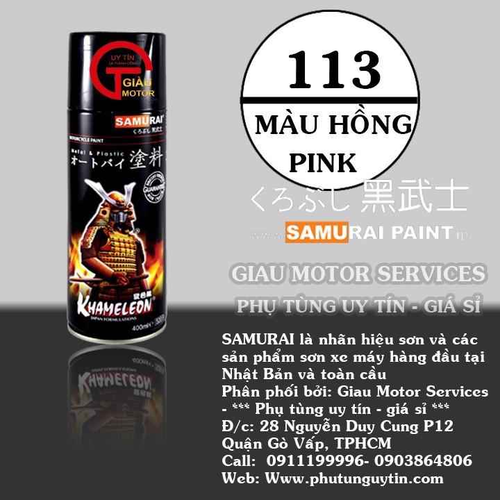 113 _ Chai sơn xịt sơn xe máy Samurai 113 màu hồng _  Pink , shop uy tín, giao nhanh, giá rẻ 1