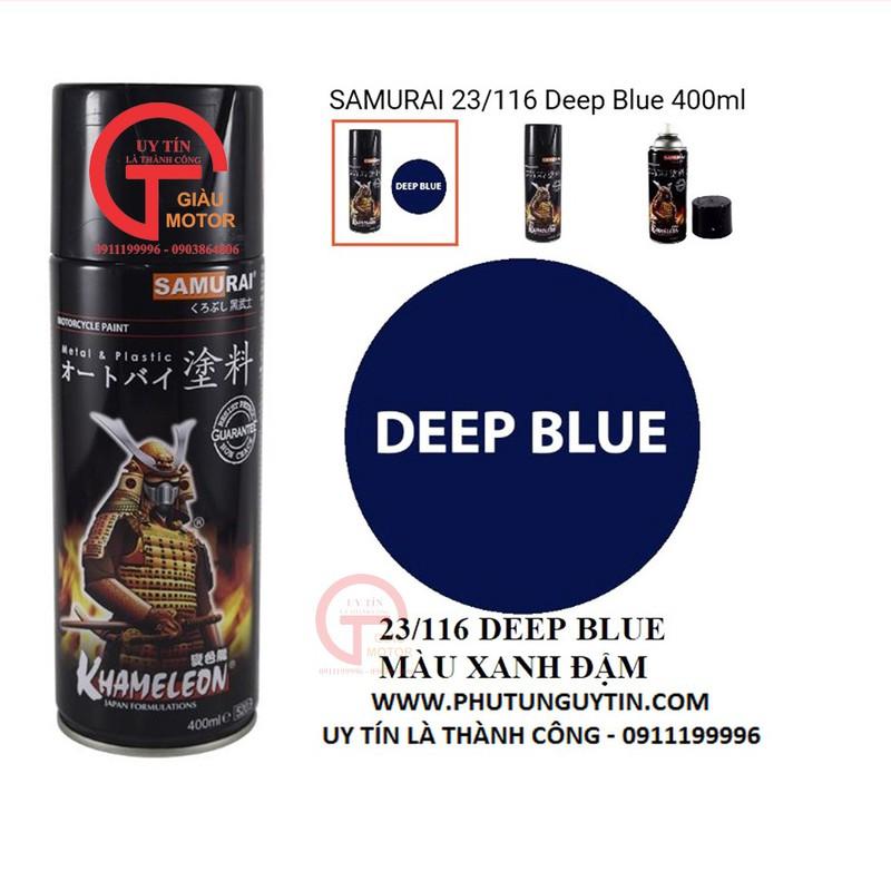 116 _ Chai sơn xịt sơn xe máy Samurai 116 màu xanh dương đậm _ 116 samurai Deep Blue _ shop uy tín, giao nhanh, giá rẻ 2