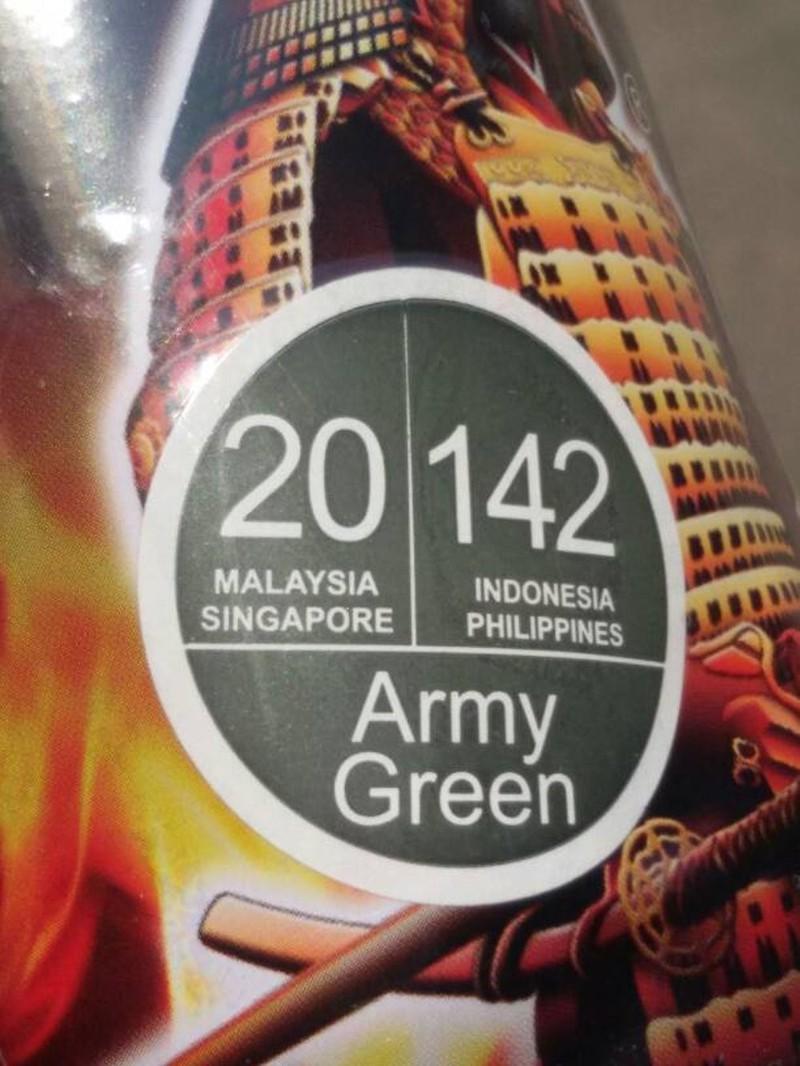 142 _ Chai sơn xịt sơn xe máy Samurai 142 màu xanh quân đội _ Army Green shop uy tín, giao nhanh, giá rẻ 3