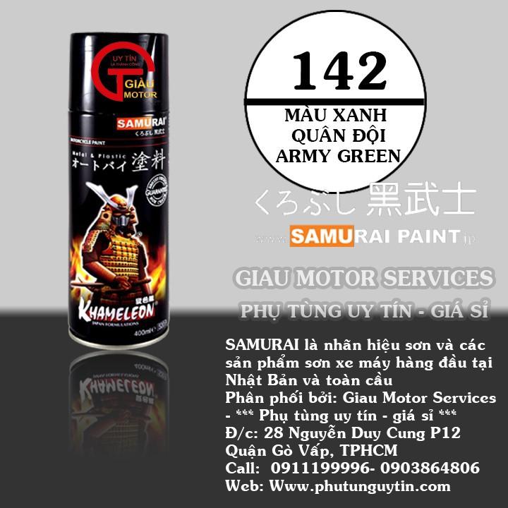 142 _ Chai sơn xịt sơn xe máy Samurai 142 màu xanh quân đội _ Army Green shop uy tín, giao nhanh, giá rẻ 1