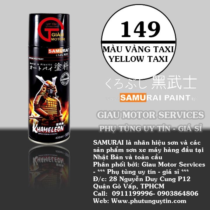 149 _ Sơn xit Samurai 149 màu vàng taxi_ Yellow Taxi _ Tốt, ship nhanh, giá rẻ 1