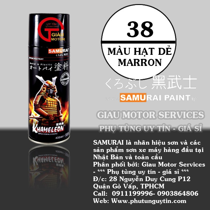 38 _ Chai sơn xịt sơn xe máy Samurai 38 màu hạt dẻ _ Maroon _shop uy tín, giao hàng nhanh, giá rẻ 1
