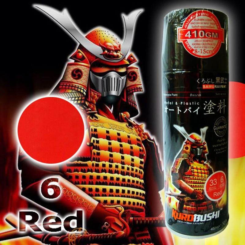 6 _ Chai sơn xịt sơn xe máy Samurai 6 màu đỏ _ Red _ shop uy tín, giao hàng nhanh 8