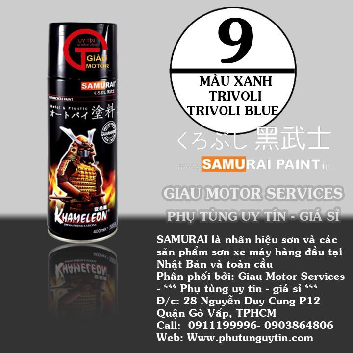 9 _ Sơn xit Samurai 9 màu xanh trivoli _ Trivoli Blue Tốt, ship nhanh, giá rẻ 4