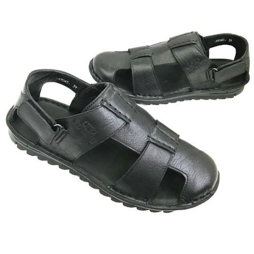 Giày sandal nam bít mũi da bò thật đế khâu chắc chắn AD138D