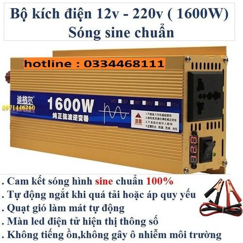 Bộ kích điện sine chuẩn 12v lên 220v công suất 1600w