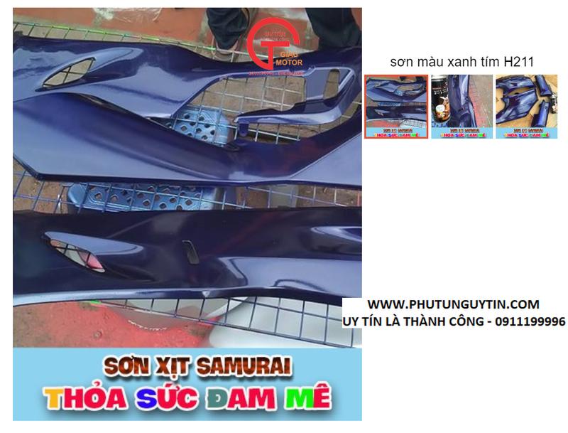 H211 _ Chai sơn xịt sơn xe máy Samurai H211 màu xanh tím Tiger   _ Violet Met   Honda uy tín, giao hàng nhanh , giá rẻ 9