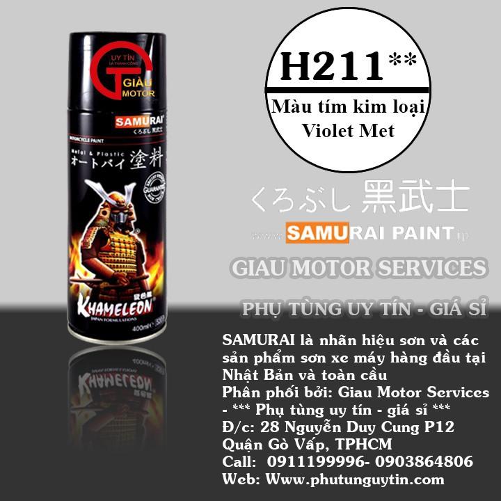 H211 _ Chai sơn xịt sơn xe máy Samurai H211 màu xanh tím Tiger   _ Violet Met   Honda uy tín, giao hàng nhanh , giá rẻ 1