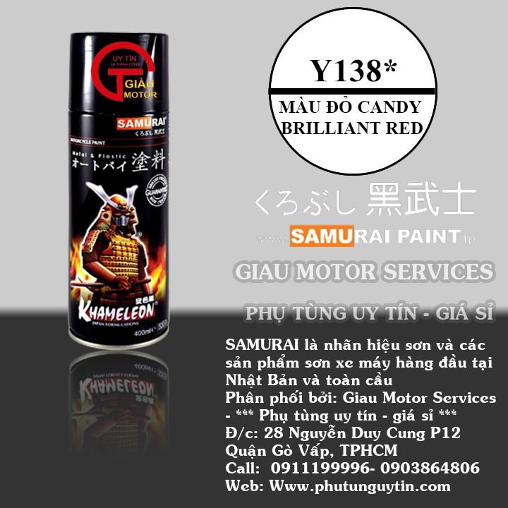 y138 _Chai sơn xịt sơn xe máy Samurai Y138  màu đỏ candy Yamaha - Brilliant Red _ uy tín, giao hàng nhanh, giá rẻ 1