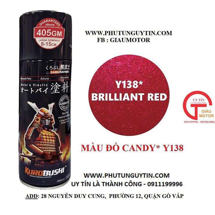 y138 _Chai sơn xịt sơn xe máy Samurai Y138  màu đỏ candy Yamaha - Brilliant Red _ uy tín, giao hàng nhanh, giá rẻ 5