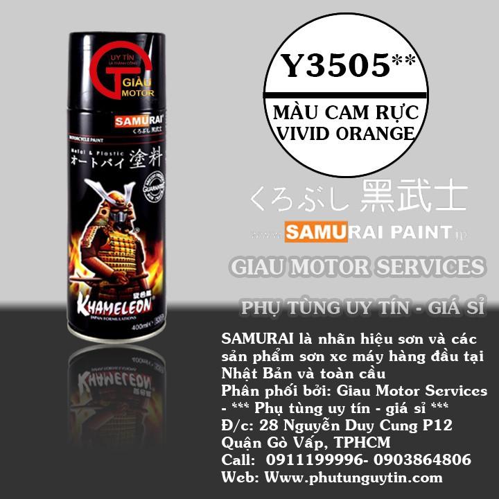 Y3505_ Chai sơn xịt  Samurai Y3505 màu cam rực   Vivid Orange  Yamaha shop uy tín, giao hàng nhanh, giá rẻ 1