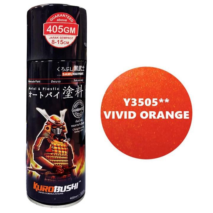 Y3505_ Chai sơn xịt  Samurai Y3505 màu cam rực   Vivid Orange  Yamaha shop uy tín, giao hàng nhanh, giá rẻ 2