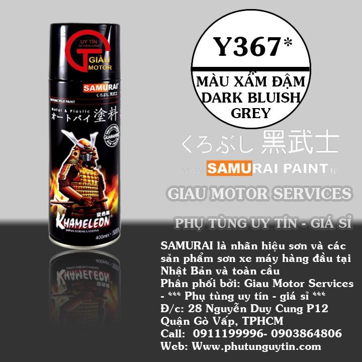 y367 _ Chai sơn xịt sơn xe máy Samurai Y367 màu xanh đâm Dark Bluish Grey Yamaha uy tín, giao hàng nhanh, giá rẻ 1