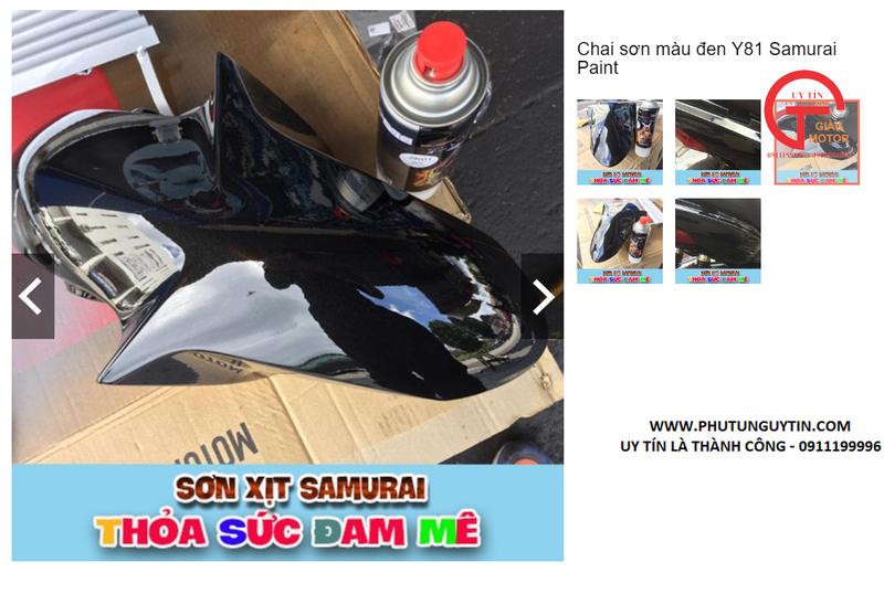 y81 _ Chai sơn xịt sơn xe máy Samurai Y81 _ màu đen ánh kim X _ Metallic X  _ uy tín, giao hàng nhanh, giá rẻ 12