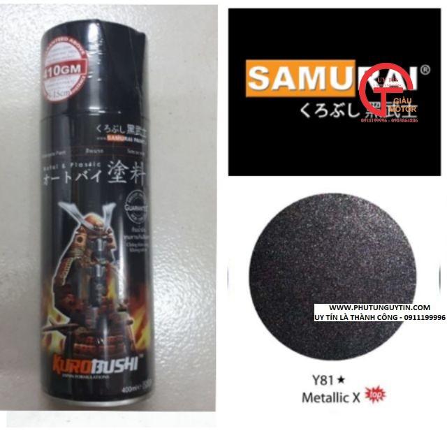 y81 _ Chai sơn xịt sơn xe máy Samurai Y81 _ màu đen ánh kim X _ Metallic X  _ uy tín, giao hàng nhanh, giá rẻ 3
