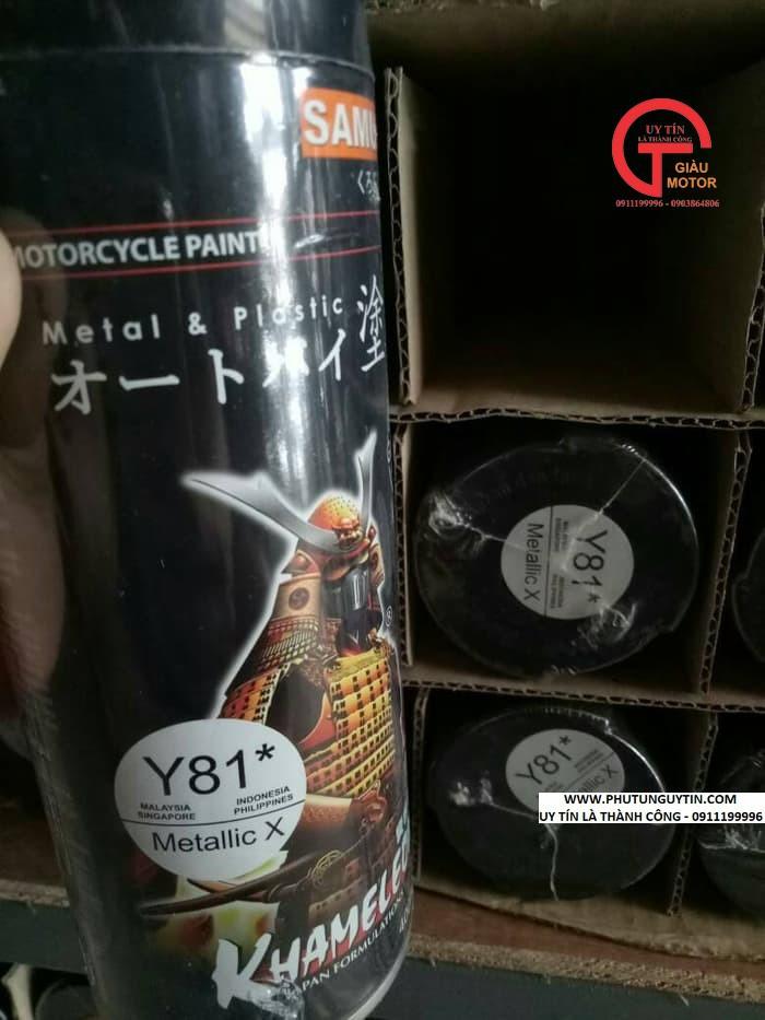 y81 _ Chai sơn xịt sơn xe máy Samurai Y81 _ màu đen ánh kim X _ Metallic X  _ uy tín, giao hàng nhanh, giá rẻ 9