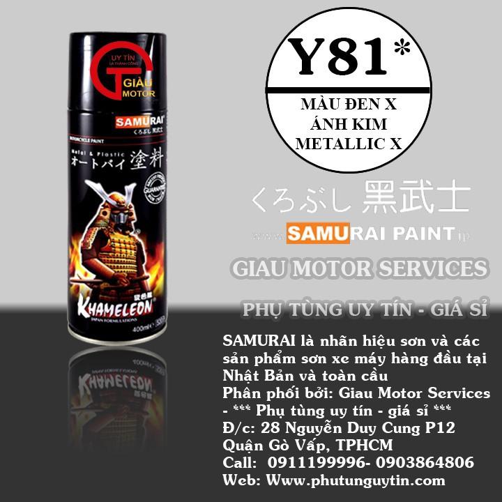y81 _ Chai sơn xịt sơn xe máy Samurai Y81 _ màu đen ánh kim X _ Metallic X  _ uy tín, giao hàng nhanh, giá rẻ 1