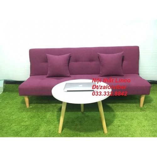 PK - Sofa bed và bàn tròn tím bố, sofa giường 1m7x90, salon, sopha, bộ ghế sofa phòng khách