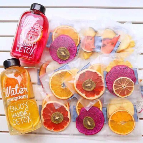 Detox trà hoa quả sấy gói full Vip 30 gói tặng bình thuỷ tinh 600ml và túi giữ nhiệt xinh xắn