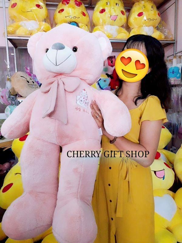 Gấu Teddy Hồng Đeo Nơ 1m2 1