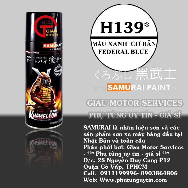 H139 _ Chai sơn xịt sơn xe máy Samurai H139 màu xanh cơ bản Honda _ Federal Blue _shop uy tín _giao hàng nhanh _ giá rẻ 1