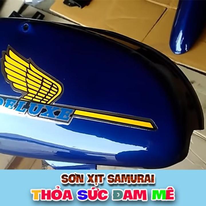 H195M _ Chai sơn xịt sơn xe máy Samurai H195 màu xanh dương Honda màu siêu đẹp, bền và giá rẻ 5