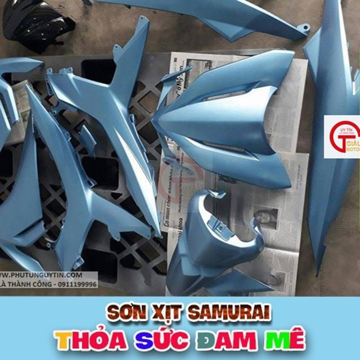 h198 _ Chai sơn xịt sơn xe máy Samurai H198 màu xanh băng giá, xanh nhạt Honda FROZEN BLUE  giá rẻ, uy tín 9