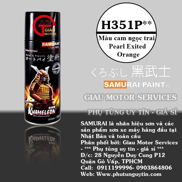 h351p _Chai sơn xịt sơn xe máy Samurai H351P** màu cam ngọc trai Honda Pearl Excited Orange giá rẻ, uy tín , giao nhanh 1