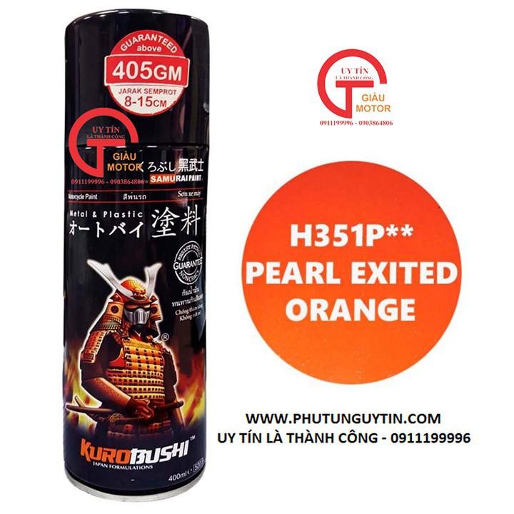 h351p _Chai sơn xịt sơn xe máy Samurai H351P** màu cam ngọc trai Honda Pearl Excited Orange giá rẻ, uy tín , giao nhanh 2