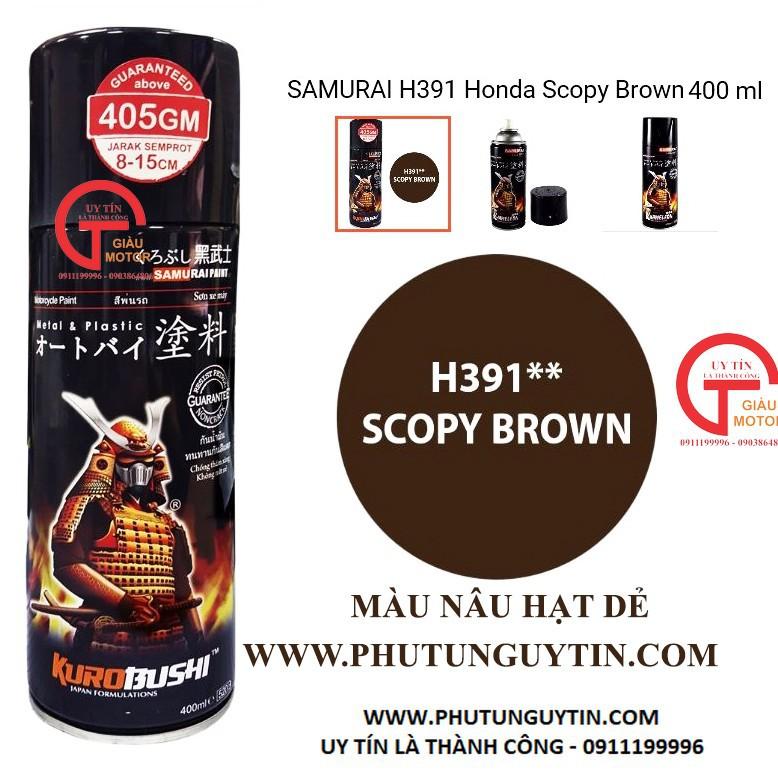 H391 _Sơn xit Samurai H391 màu nâu hạt dẻ Honda_ Scopy Brown màu siêu đẹp, bền và giá rẻ 8