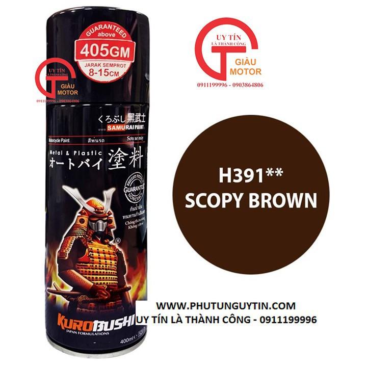 H391 _Sơn xit Samurai H391 màu nâu hạt dẻ Honda_ Scopy Brown màu siêu đẹp, bền và giá rẻ 5