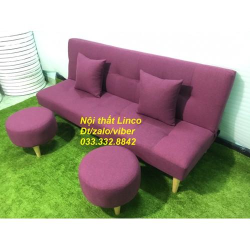 PK - Sofa giường tím bố 1m7x90 và 2 đôn tròn, salon, sopha, bộ sofa phòng khách, sofa bed, sa lông, sô pha