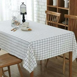 khăn trải bàn ăn cao cấp không thấm nước mẫu ô vuông trắng size 140cm x 140cm